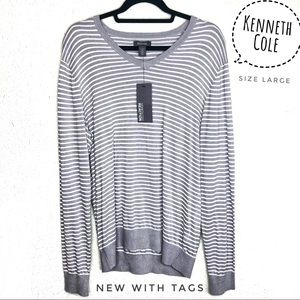 NWT | Kenneth Cole | Men's V-Neck Stripped Sweater